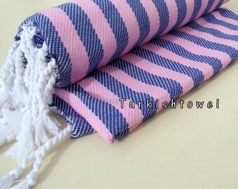 Turkishtowel-NEW Colors, Soft-High Quality,Hand Woven,Cotton Bath,Beach,Pool,Spa,Yoga,Travel Towel or Sarong-Pink and Sailor Blue Stripes