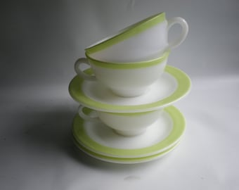 Lime Green Striped or Banded Milk Glass Cups and Saucers Set of 3
