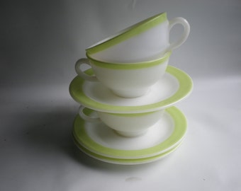 SALE Lime Green Striped or Banded Milk Glass Cups and Saucers Set of 3