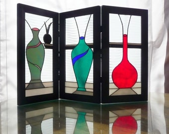 Vases in Three-Piece Screen in Stained Glass,table art, abstract screen, three piece glass work,
