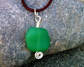 Frosty Green Nugget Glass Bead Pendant