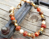 Creekside - Picasso Jasper with Fossil Stone Beads Beaded Gold Bracelet