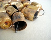 50 Golden Colored Hand Made Cow Bells for Wind Chimes, Altered Art -with Jute Rope - DIY - MV129