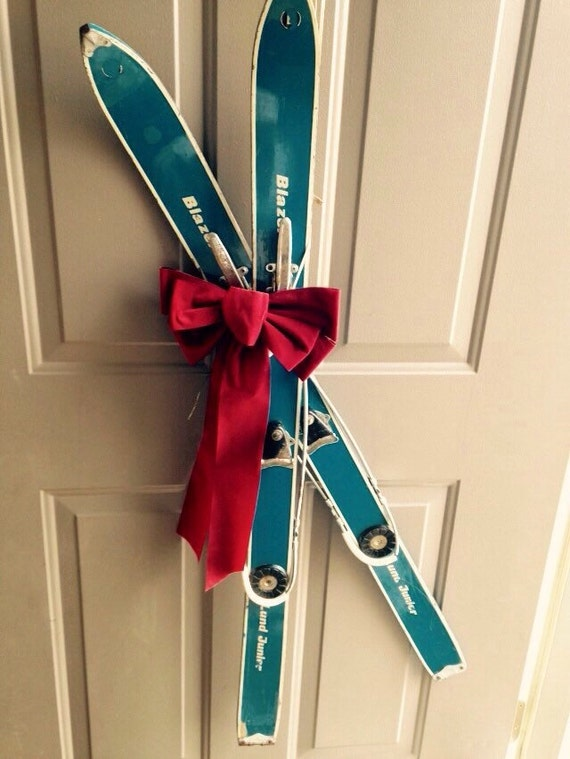Vintage Small Skis Children S Blue Skis Cute Winter Door