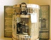Edgar Allen Poe Altered Book 1900,  macabre book autopsy Shrine, Alter, The Raven