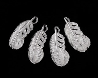 4 of 925 Sterling Silver Feather Charms  7x14.5 mm. :th1440