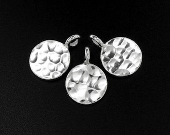4 of Karen Hill Tribe Silver Hammered Disc Charms 10 mm. :ka4066
