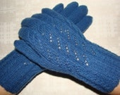 Hand knitted very warm blue women gloves