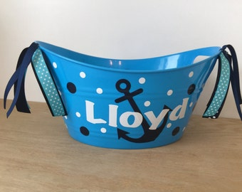 Personalized oval tub - Anchor or other design, Easter basket, gift basket, name, initial or monogram, polka dots, baby gift basket