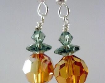 Pumpkin Swarovski Crystal Earrings - Celebrate Halloween in Style, SRAJD