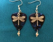 Guitar Pick with dragonfly earrings.