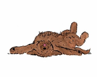 "Whimsical brown goldendoodle ""I'm DONE"" print 5x7"