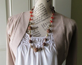 Statement Necklace Vintage Brown red leopard Chunky Necklace with matching earrings for Women, Boho, Large