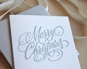 Letterpress Christmas card Hand lettered Merry Christmas in SILVER Made in Australia