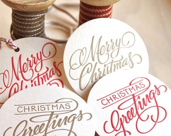 Christmas table decoration, EIGHT hand lettered Christmas Letterpress Coaster your choice of colour combination red, green, silver or gold