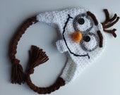 Crochet Olaf Hat-Frozen Hats- photo prop-Olaf hat-frozen costume-Snowman Hat