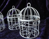 "Mini Bird Cage table decoration  - white mini bird cage - 2 3/4"" diameter 4 1/2"" high - custom colors available"