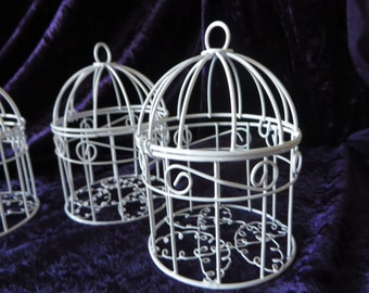 "Mini Bird Cage table decoration  - white mini bird cage - 2 3/4"" diameter 4 1/2"" high"