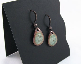 Tiny Blue-Green Hammered Teardrop Earrings