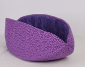 Cat Canoe Kitty Bed in Cheerful Purple Cotton Fabrics