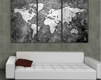 World Map WITH COUNTRIES Canvas Art Vintage Map Art Map Of - Us map canvas wall art