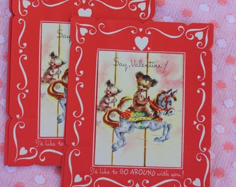Vintage Unused Valentines Day Card,  Merry Go Round with Bear, ONE CARD