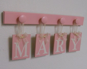 Baby Girl Nursery Decor, Boutique Name Sign, Custom Baby Name Wall Hanging Personalized Nameplates for MARY with 4 Wooden Pegs Pastel Pink