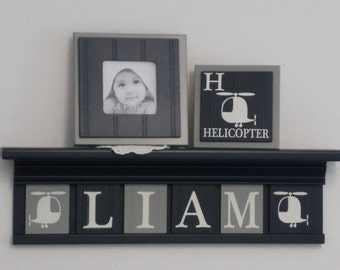 Personalized Helicopter Art Shelf for Nursery, Kids Room Decor - Customize With Your Child's Name - Gray / Navy Plaques on Navy Shelf