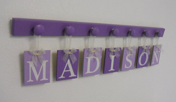 Name In Lights Wall Decor : Purple Baby Nursery Decor Wall Sign Set with Wooden Letter