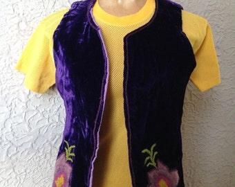 60's Vintage Purple Velvet Vest Hippie Waistcoat