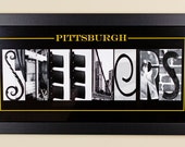 Pittsburgh Steeler Alphabet Photography Framed  - 10 X 20