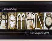 Personalized Family Name Signs - Black and Sepia Print- 10x20 framed