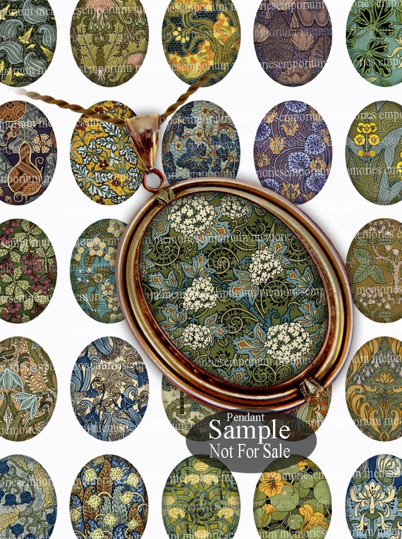 Art Nouveau Pendant Ovals 30 x 40mm Floral for DIY Jewelry Cabochon Magnets Assemblage Digital Collage Sheet Download Printable 155