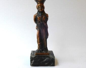 Vintage ancient Greek souvenir cast metal Caryatid maiden figurine from Acropolis