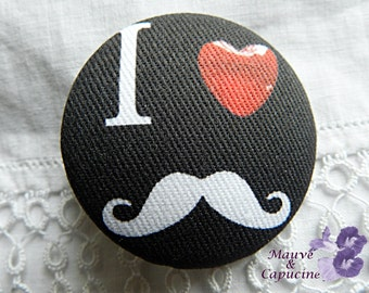 Fabric button,  printed  moustache