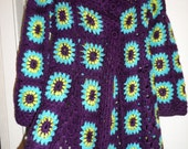 Crochet  granny square puff stitch flowers plum purple turquoise green 1960-s hippie bohemian coat jacket cardigan  OOAK