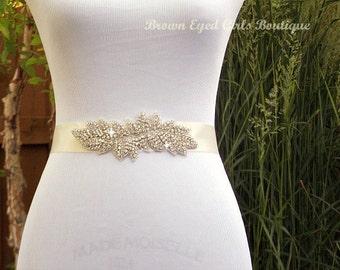 Crystal Wedding Sash Belt, Rhinestone Bridal Belt, Crystal Sash Belt, Wedding Dress Sash, Crystal Rhinestone Belt - Kaitlin