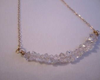 Sparkling Herkimer Diamond Carrie Necklace 14k Gold Fill