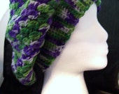 Sale! 5 Dollar Green, Purple, and White Cluster Stitch Hand Crocheted Slouch Beanine