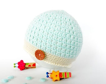Crochet  baby hat , mint baby hat, newborn hat, cotton hat,  baby beanie,  baby crochet hat, 0 - 6 months, READY TO SHIP