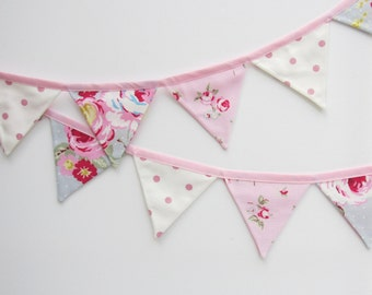 Mini Bunting, Fabric Bunting, Cottage Chic Bunting,Floral Pennant Banner,Baby Bunting,Pink and Grey, Photo Prop, Various lengths.