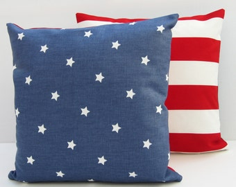 Pair of  Stars and Stripes Cushion Covers, American Flag Pillow Covers, 16 x 16  Red White and Blue, Decorative Americana Pillow covers,