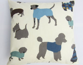 Dog Cushion Cover, Dog Print Pillow Cover, Dog Pillow Cover, Blue on Cream Dogs on Front and Back, Select size from 14 up to 24 Inch
