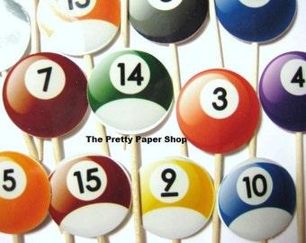15  Pool Balls Billiards Party Picks - Cupcake Toppers - Toothpicks - Food Picks -  FP511