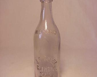 c1890s J. F. Burke Clinton, Mass. , Clear Blob Top Beer Bottle
