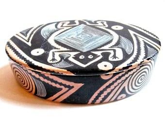 Take 20% off Vintage Kenyian Black & White Soapstone Swahlii Imports Lidded Oval Bowl