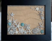 Crystal Pearl Starfish Beach Picture Frame Rhinestone Button Brooch Wall Art Wedding Gift Christmas Gift Home Decor HD001LX