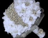 SALE - Ready to Ship - 10 Inches Vintage Bridal Brooch Bouquet - Pearl Rhinestone Crystal - Silver White Gray - BB054LX