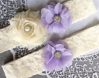 Wedding Garter Set Bridal Garter Set Lavender Purple Lace Garter Set Ivory Rhinestone Crystal Lace Garter GR131LX