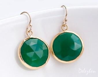 Green Onyx Earrings - Green Stone Earrings - Round Gemstone Earrings - Gold Earrings - Drop Earrings